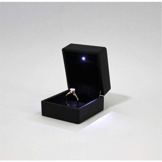 Entina LED Işıklı Pırlanta Yüzük Kutusu-Siyah Takı/mücevher Kutusu