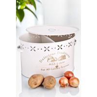 Hamidiye Ambalaj 2 Bölmeli Metal Patates Soğan Kovası Krem 18 Lt