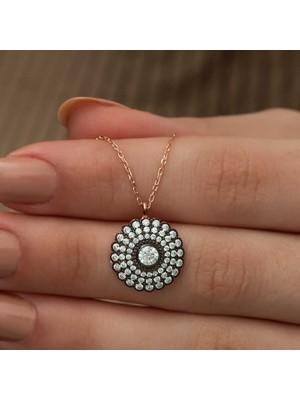 Alya Avm gümüş Elmas Montür Çiçek Bayan Kolye