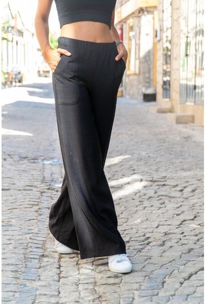 New Laviva Siyah Salaş Rahat Kadın Pantolon