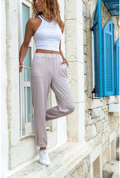 New Laviva Pudra Rahat Kesim Kadın Pantolon