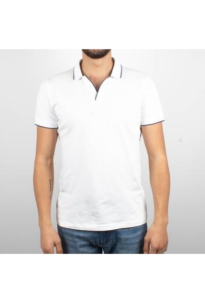 Qwerty Erkek Polo Yaka Düğmesiz Açık Pat Beyaz