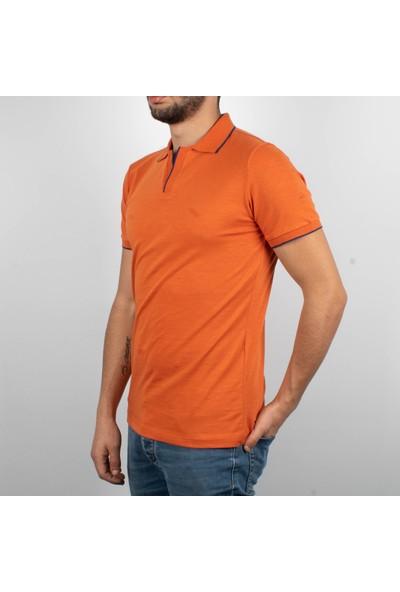 Qwerty Erkek Polo Yaka Düğmesiz Açık Pat Orange
