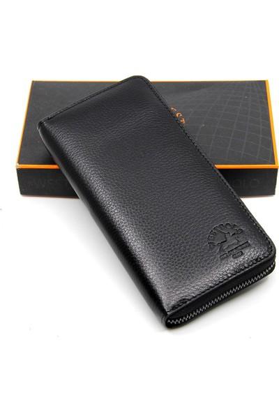 Polo W Club Siyah Unisex Telefon Kılıflı Deri El Cüzdan Kartlık WPT454