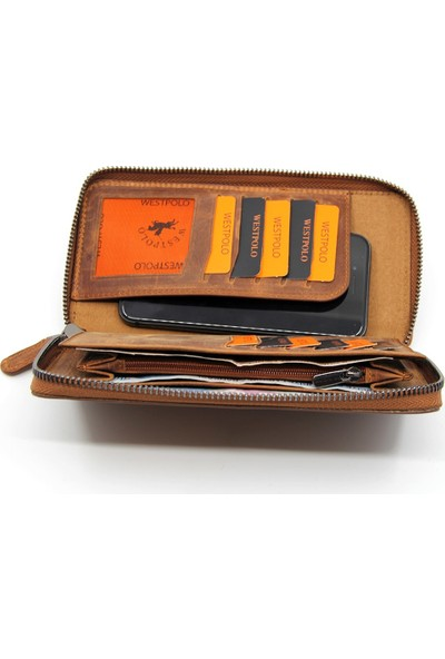 Polo W Club Taba Unisex Telefon Kılıflı Crazy Deri El Cüzdan Kartlık WPT454