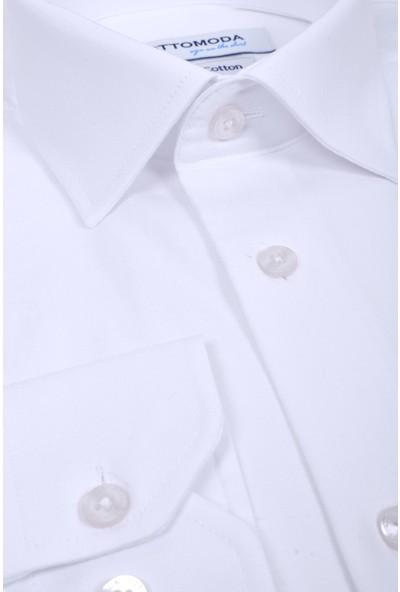 Ottomoda Erkek Saten Cepli Klasik Uzun Kollu Gömlek