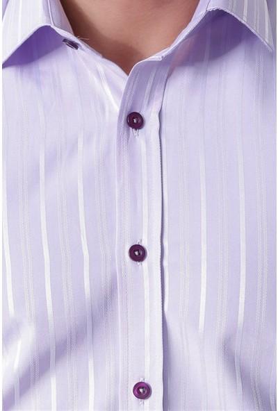 Ottomoda Erkek Çizgili Armürlü Uzun Kollu Gömlek