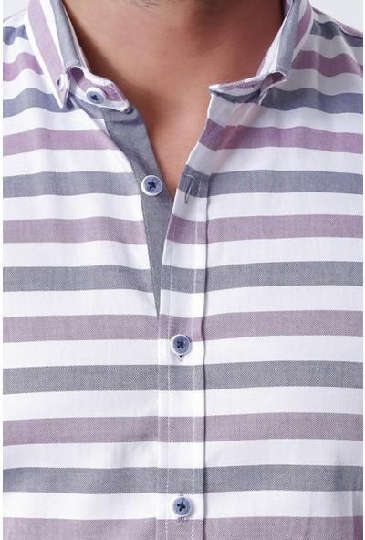 Ottomoda Erkek Oxford Çizgili Uzun Kollu Gömlek