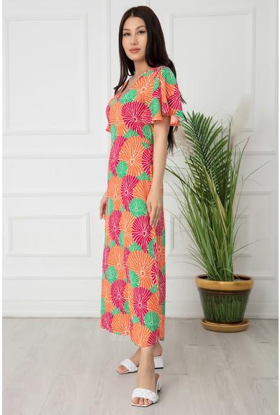 Kalopya Kadın V Yaka Volanlı Kol Yırtmaçlı Elbise 2627