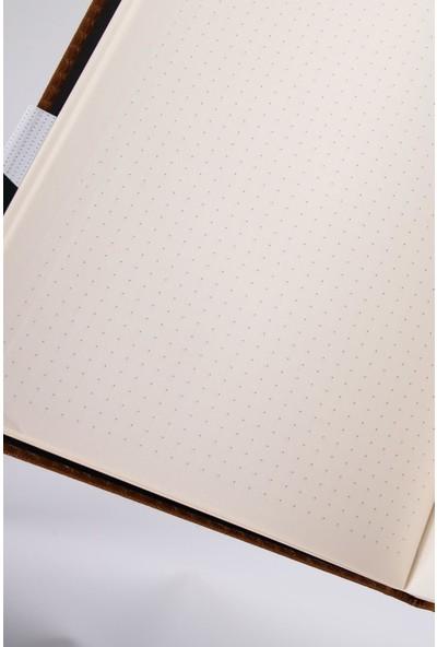 Gen-Of İzometrik Noktalı Termo Deri Lastikli Defter 14 x 20 cm Siyah