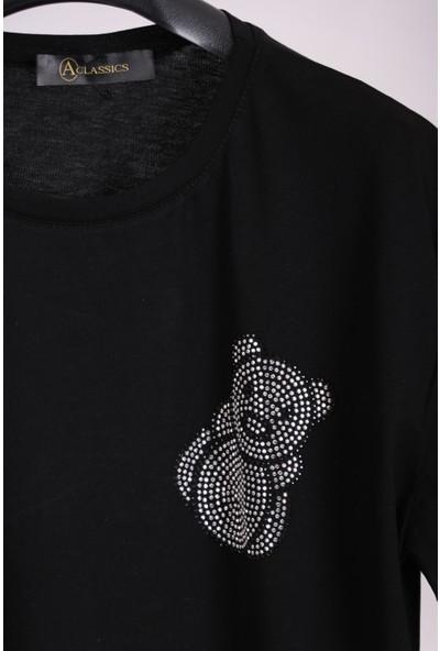 Aclassics Kadın Siyah Bisiklet Yaka Ayıcık Figürlü Taşlı Yarım Kollu Pamuk Salaş Tunik T-Shirt