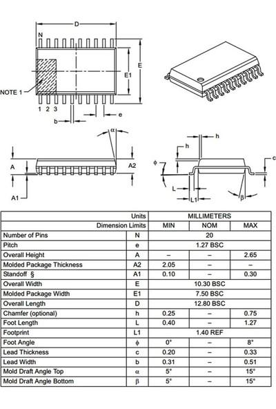 Microchip PIC16F1508 I/so Smd Soıc-20 8-Bit 20MHZ Mikrodenetleyici