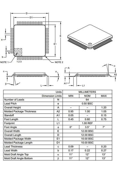 Microchip PIC18F6527 I/pt Smd Tqfp-64 8-Bit 40MHZ Mikrodenetleyici