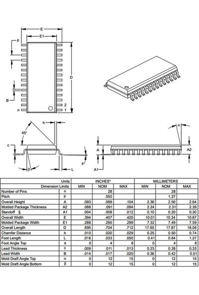 Microchip PIC16F883 I/so Smd Soıc-28 8-Bit 20 Mhz Mikrodenetleyici