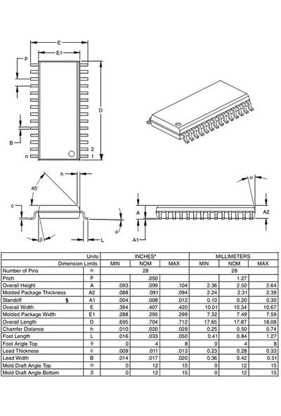 Microchip PIC18F252 I/so Smd Soıc-28 8-Bit 40MHZ Mikrodenetleyici