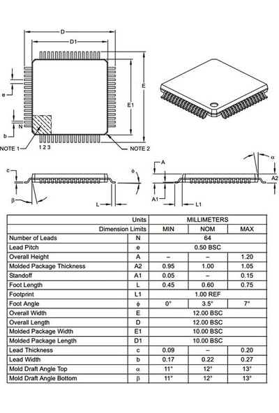 Microchip PIC18F6722 I/pt Smd 8-Bit 40MHZ Mikrodenetleyici Tqfp-64