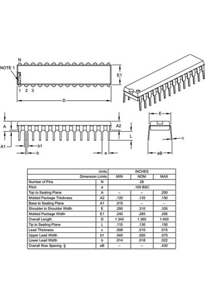 Microchip PIC18F252 I/sp 8-Bit 40 Mhz Mikrodenetleyici Dip-28