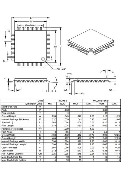Microchip PIC16F877A I/pt Smd Tqfp-44 8-Bit 20 Mhz Mikrodenetleyici