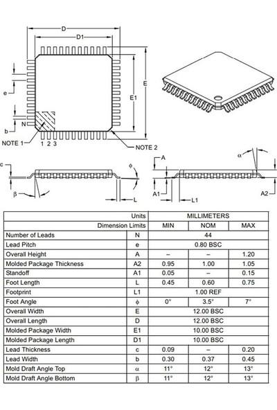 Microchip PIC18F4550 I/pt Smd Tqfp-44 8-Bit 48MHZ Mikrodenetleyici
