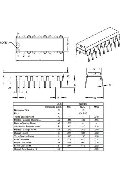 Microchip PIC16F1826-I/P Pdıp-18 8-Bit 32MHZ Mikrodenetleyici