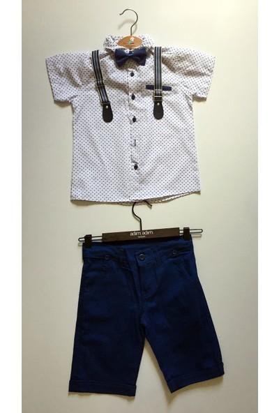 Terry Erkek Çocuk Şort Gömlek Papyon Askı Takımı 4 Parça