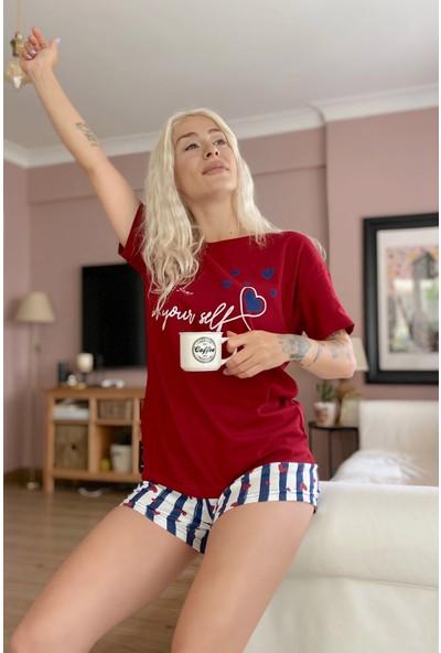 Pijama Evi Kırmızı Your Self Baskılı Şortlu Kadın Pijama Takımı