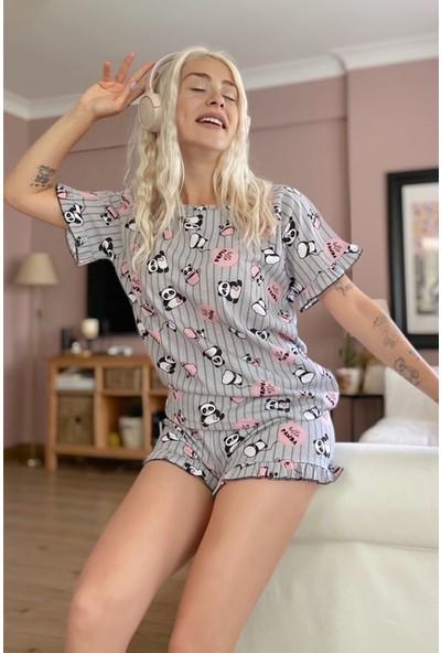 Pijama Evi Panda Desenli Örme Kısa Kol Şortlu Pijama Takımı
