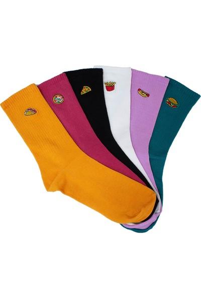 Ilbaş 6'lı Fastfood Nakışlı Renkli Kokulu Çorap