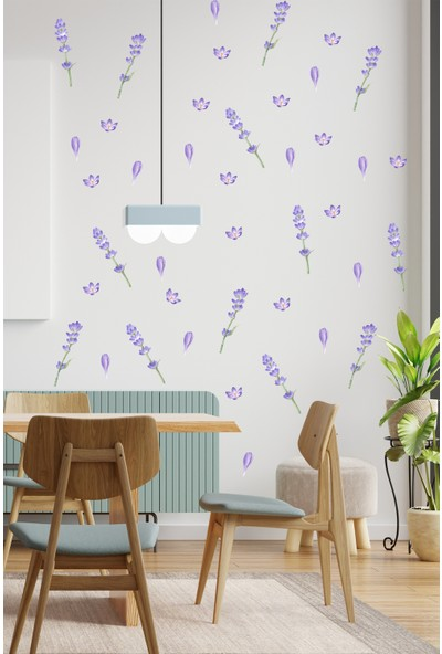Sim Tasarım SIM141 Lavanta Mor Çiçek Duvar Sticker Seti