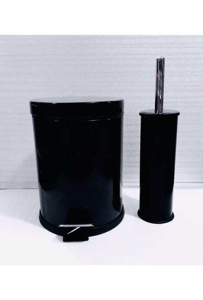 Mesa Teknik Siyah Renk 5 Lt Paslanmaz Pedallı Çöp Kovası + Klozet Fırça Seti