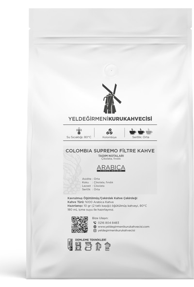 Yeldeğirmeni Kurukahvecisi Colombia Supremo Filtre Kahve 250 Gr