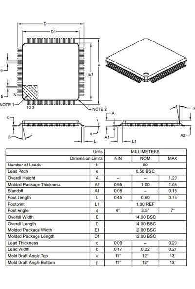 Microchip PIC18F87J10 I/pt Smd 8-Bit 40MHZ Mikrodenetleyici Tqfp-80