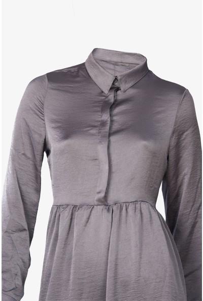 Newton Gümüş Pamuklu Saten Tunik Bluz