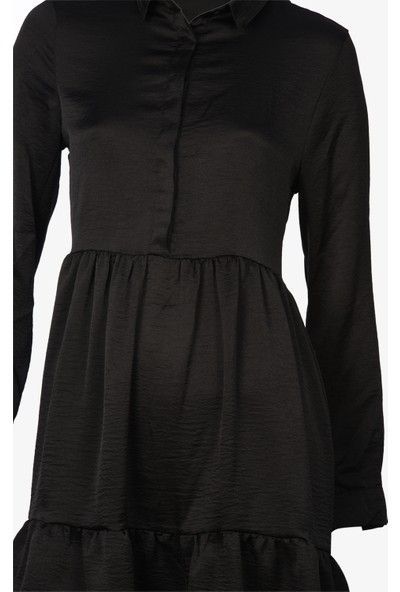 Newton Siyah Pamuklu Saten Tunik Bluz