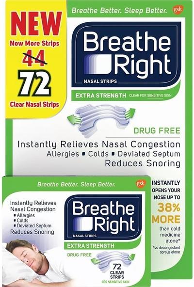 Breathe Right Extra Strength Burun Bandı Şeffaf Renk 72 Adet