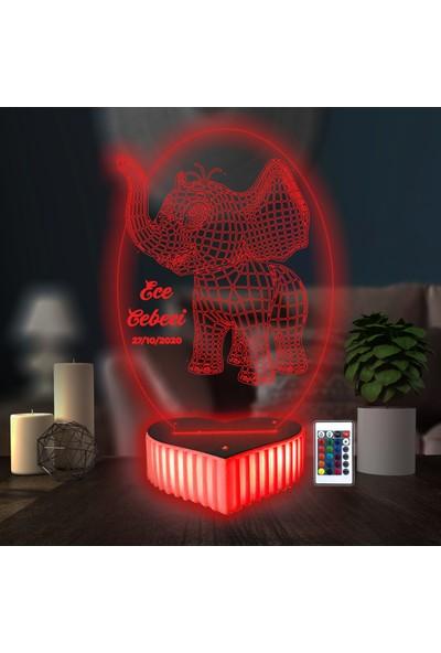 3D Hediye Dünyası Fil Resimli Kişiye Özel Hediye 16 Renkli Kumandalı