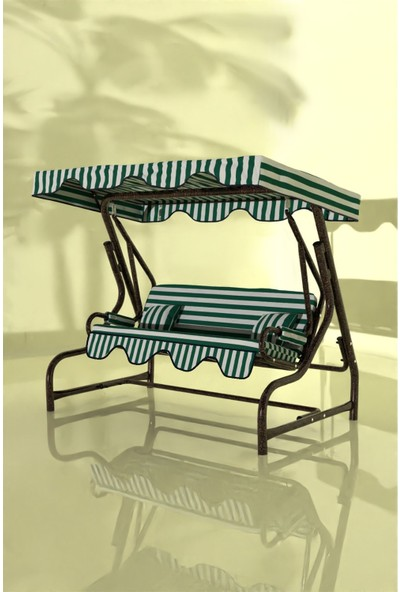 İskele Çizgili 3 Kişilik Bahçe Salıncağı Balkon Teras Salıncak Bakır