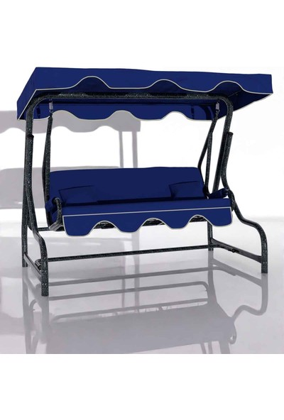 İskele Maviş 3 Kişilik Bahçe Salıncağı Balkon Teras Salıncak Gümüş