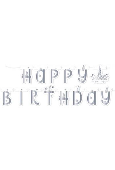 Balonevi Unicorn Gümüş Happy Birthday Yazı