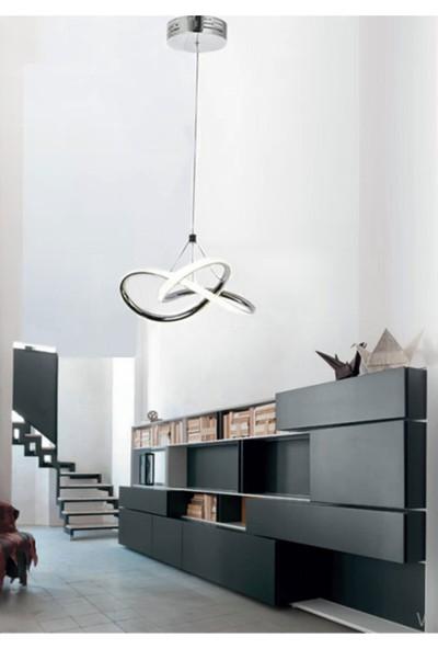 Burenze Modern Tekli Sarkıt Power LED Avize Concept Ürün Krom Beyaz Işık BURENZE151
