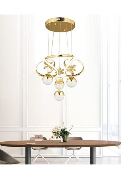 Burenze A Modern Sarkıt Power LED Avize Kelebekli Concept Ürün Gold Sarı BURENZE411