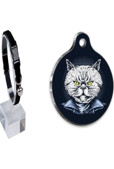 The Passage Kadife Zilli Ayarlanabilir Kedi Boyun Tasması 22-30 cm Siyah+Tasarım Çelik Kaplama Künye