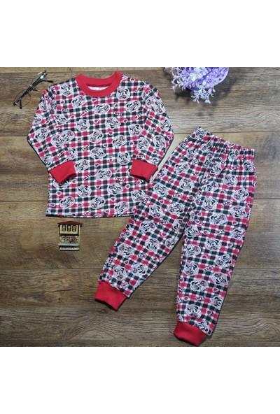 Hece Bebe Sevimli Fare Baskılı Penye Pijama Takımı 3 Yaş