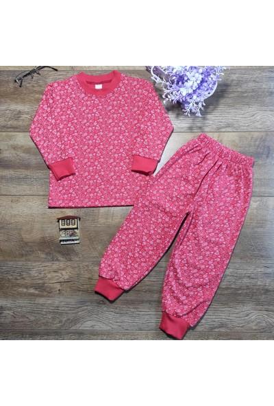 Hece Bebe Kalp-Çiçek Baskılı Penye Pijama Takımı 5 Yaş