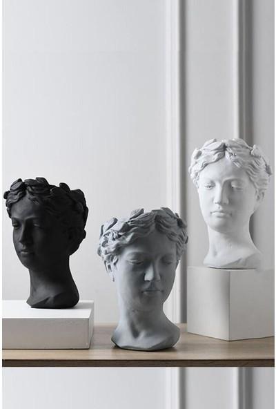 3 Lü Helen Dekoratif Heykel, Büst Saksı, 15 cm Orta Boy, Siyah, Gri ve Beyaz