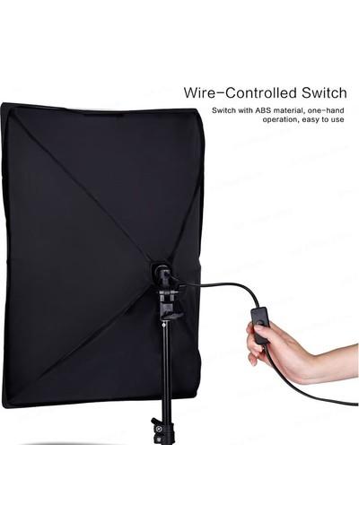 Sara Softbox 50X70CM 2 Duylu Sürekli Işık Ikili Set Lambalı