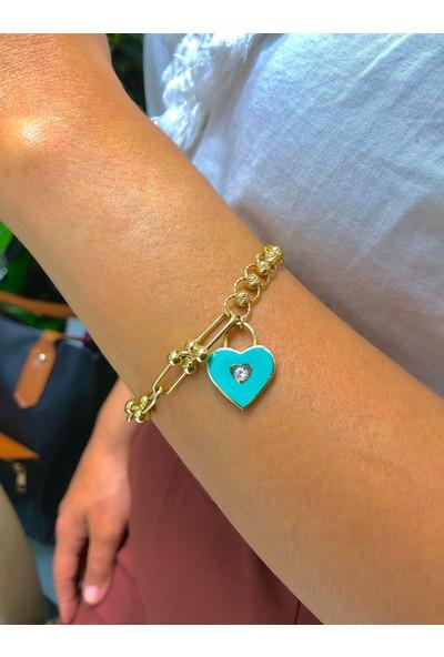 Tekin Gold Turkuaz Kalp Sallantılı Özel Tasarım Bileklik