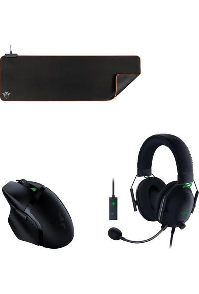 Razer Basilisk x Hyperspeed Gaming Mouse + Blackshark V2 USB Enhancer + Trust Gxt 764 Glide-Flex Mousepad