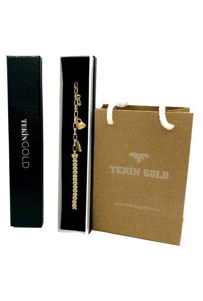 Tekin Gold Press Zincir Tasarımlı Şans Bilekliği