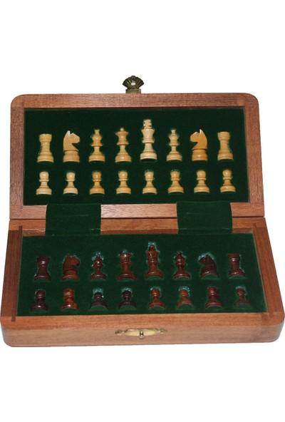 Frame Satranç Oyunu Mıknatıs Taşlı Ahşap Katlanabilir Kutulu Satranç Oyunu 18 cm